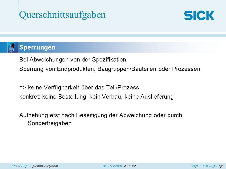 :Page 25 (Name of file).ppt:Daniel Schimanek 08.11.2006:DIV01 1P/QM (Qualitätsmanagement) Querschnittsaufgaben Bei Abweichungen von der Spezifikation: