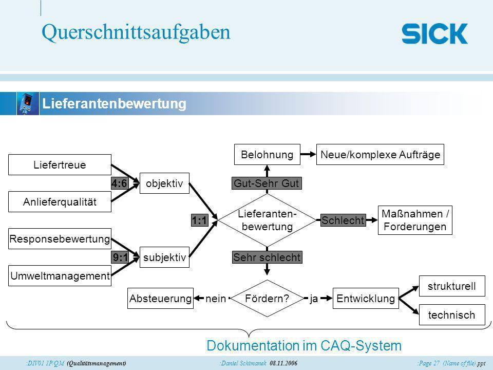 :Page 27 (Name of file).ppt:Daniel Schimanek 08.11.2006:DIV01 1P/QM (Qualitätsmanagement) Querschnittsaufgaben Lieferantenbewertung objektiv Dokumenta
