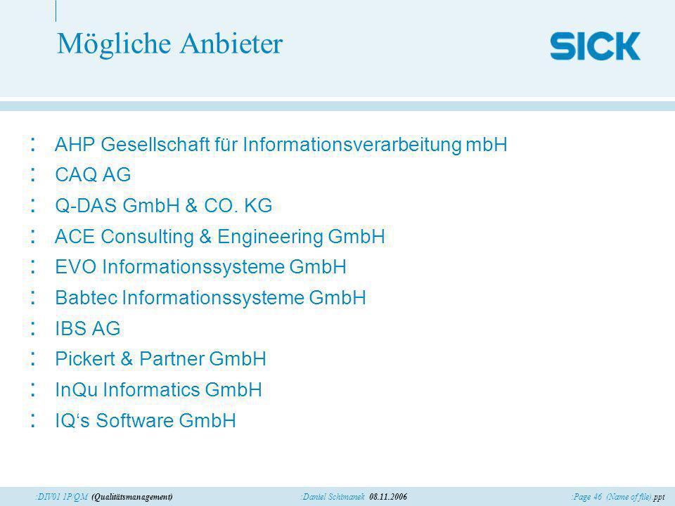 :Page 46 (Name of file).ppt:Daniel Schimanek 08.11.2006:DIV01 1P/QM (Qualitätsmanagement) Mögliche Anbieter : AHP Gesellschaft für Informationsverarbe