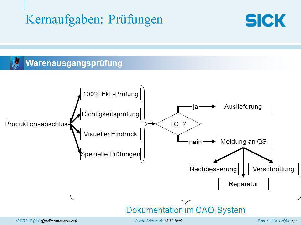:Page 6 (Name of file).ppt:Daniel Schimanek 08.11.2006:DIV01 1P/QM (Qualitätsmanagement) Kernaufgaben: Prüfungen Produktionsabschluss 100% Fkt.-Prüfun