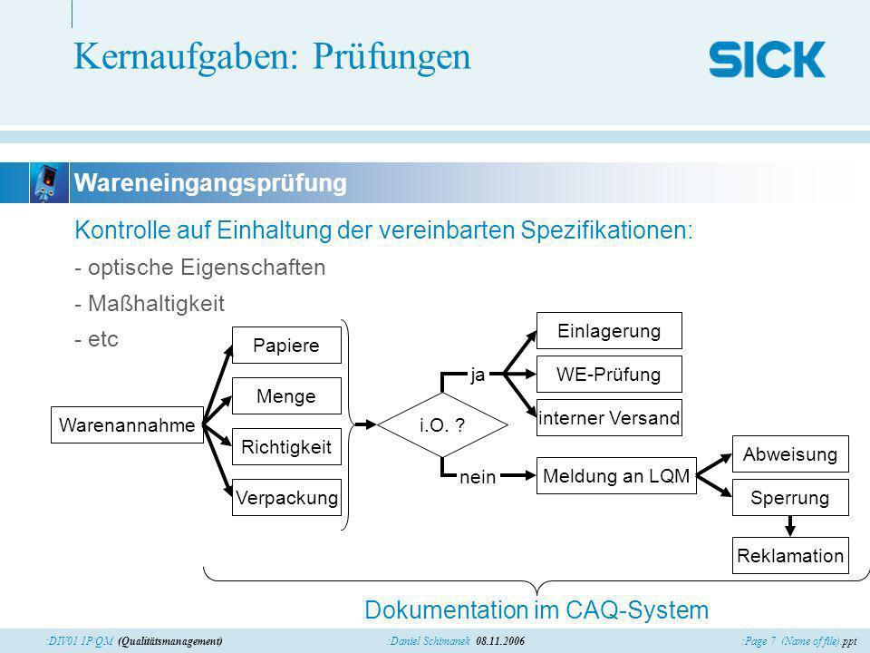 :Page 7 (Name of file).ppt:Daniel Schimanek 08.11.2006:DIV01 1P/QM (Qualitätsmanagement) Kernaufgaben: Prüfungen Kontrolle auf Einhaltung der vereinba