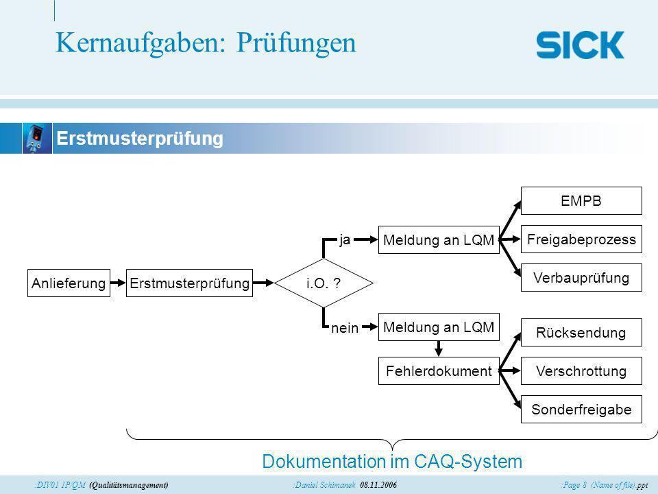 :Page 9 (Name of file).ppt:Daniel Schimanek 08.11.2006:DIV01 1P/QM (Qualitätsmanagement) Kernaufgaben: Prüfungen Prüfmittel Prüfung Dokumentation im CAQ-System Sperrung Prüfmittelüberwachung aktiv.