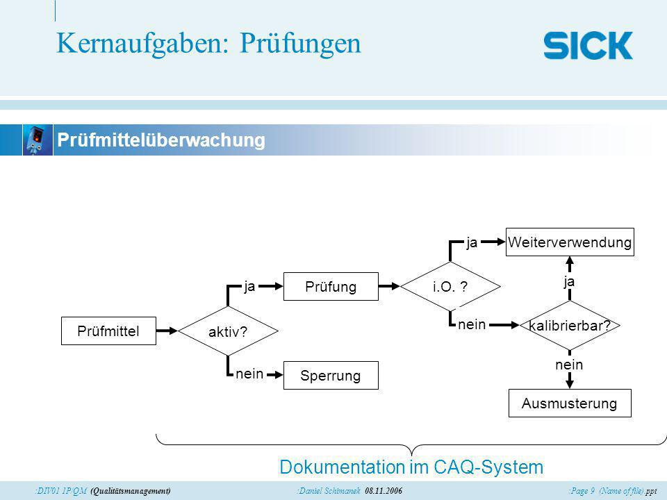 :Page 9 (Name of file).ppt:Daniel Schimanek 08.11.2006:DIV01 1P/QM (Qualitätsmanagement) Kernaufgaben: Prüfungen Prüfmittel Prüfung Dokumentation im C