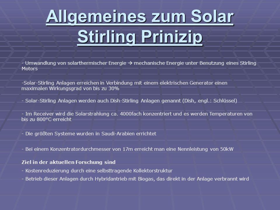 Allgemeines zum Solar Stirling Prinizip - Umwandlung von solarthermischer Energie mechanische Energie unter Benutzung eines Stirling Motors -Solar-Stirling Anlagen erreichen in Verbindung mit einem elektrischen Generator einen maximalen Wirkungsgrad von bis zu 30% - Solar-Stirling Anlagen werden auch Dish-Stirling Anlagen genannt (Dish, engl.: Schlüssel) - Im Receiver wird die Solarstrahlung ca.