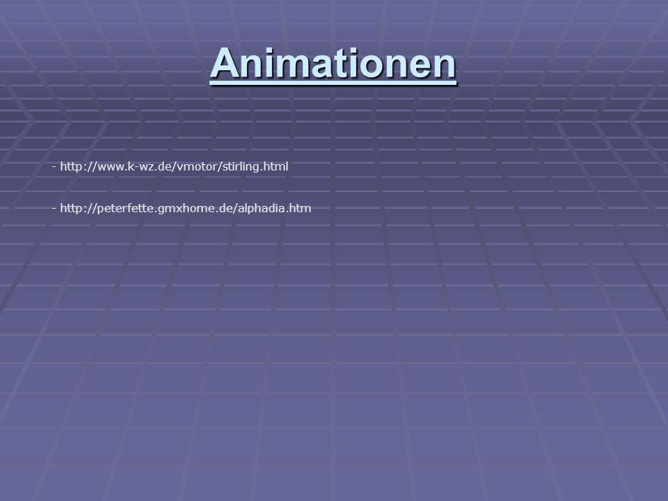 Animationen - http://www.k-wz.de/vmotor/stirling.html - http://peterfette.gmxhome.de/alphadia.htm
