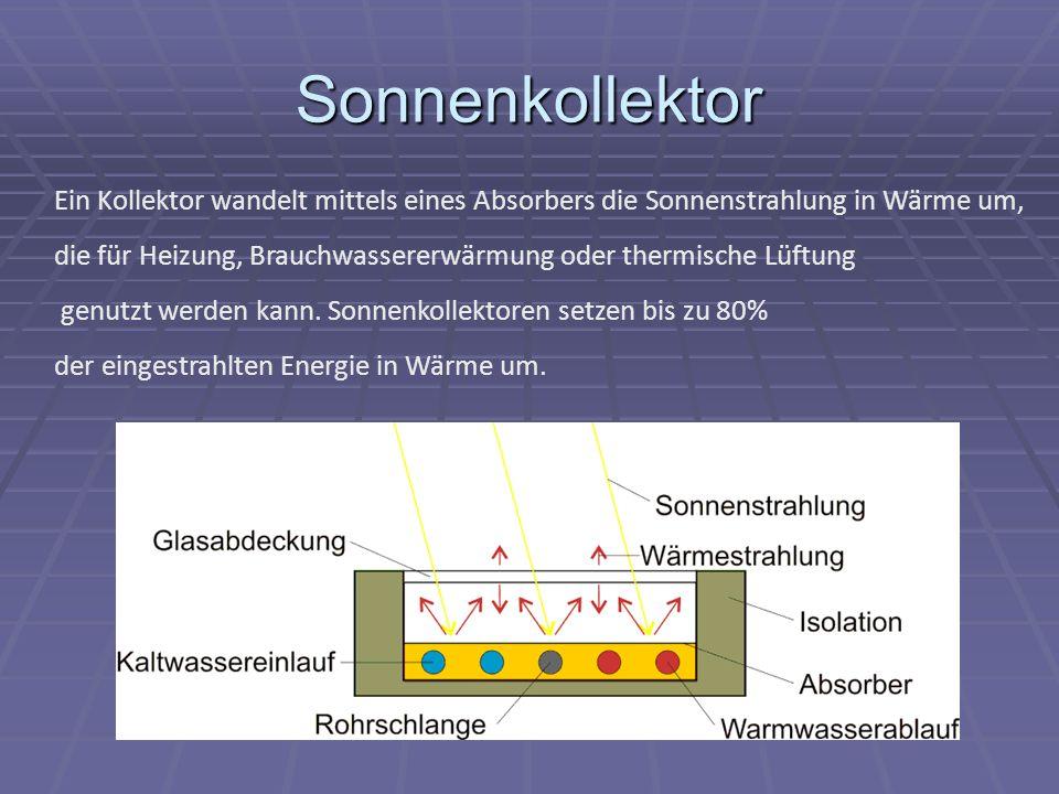 Sonnenkollektor Ein Kollektor wandelt mittels eines Absorbers die Sonnenstrahlung in Wärme um, die für Heizung, Brauchwassererwärmung oder thermische Lüftung genutzt werden kann.