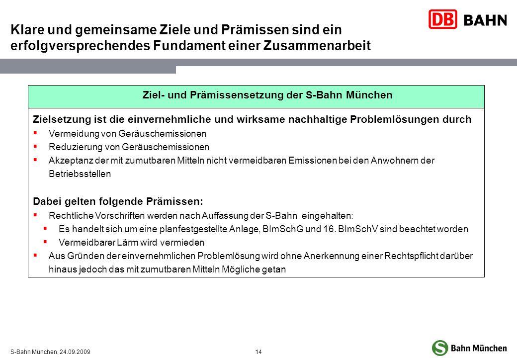 14S-Bahn München, 24.09.2009 Klare und gemeinsame Ziele und Prämissen sind ein erfolgversprechendes Fundament einer Zusammenarbeit Ziel- und Prämissen