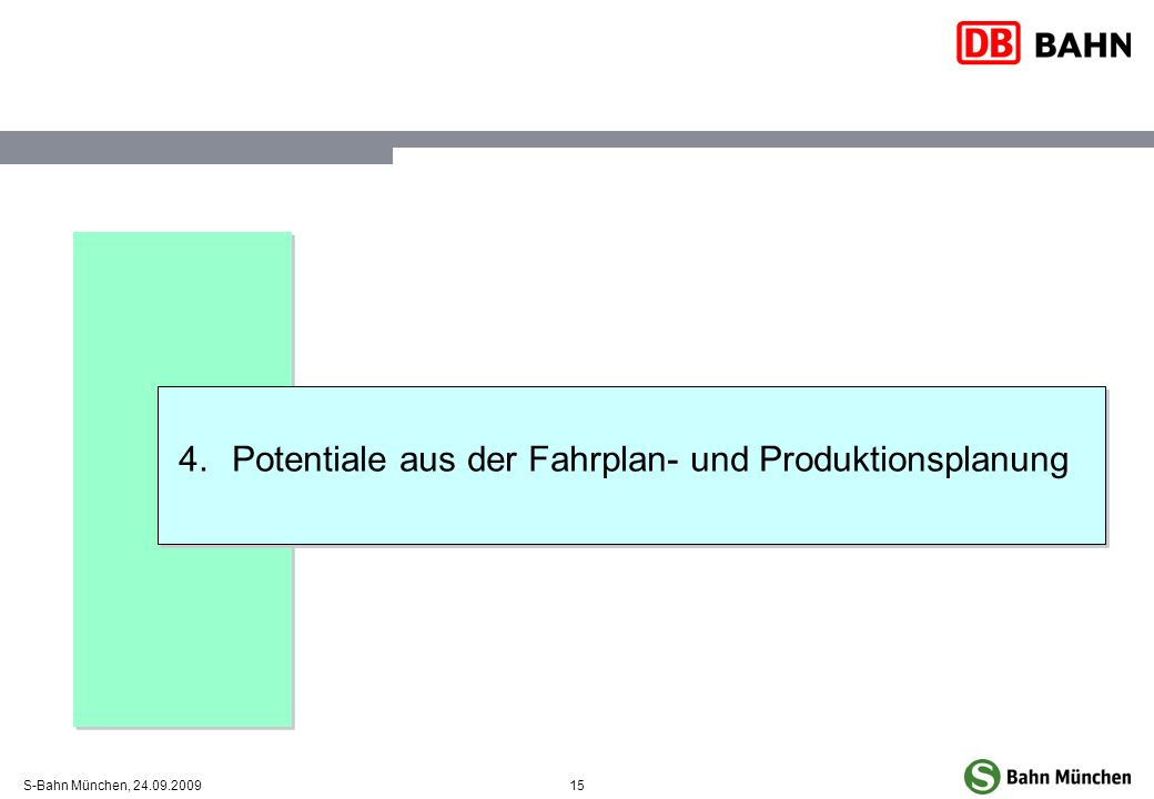 15S-Bahn München, 24.09.2009 4.Potentiale aus der Fahrplan- und Produktionsplanung