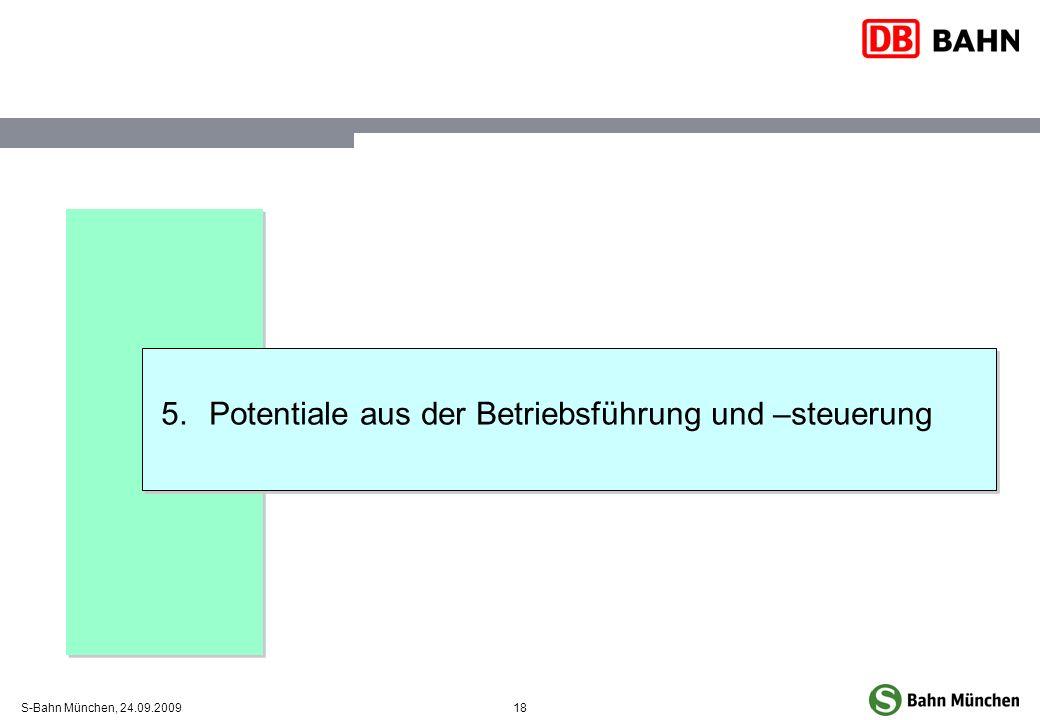18S-Bahn München, 24.09.2009 5.Potentiale aus der Betriebsführung und –steuerung
