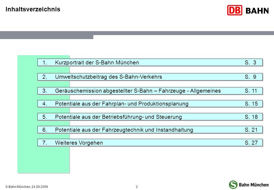 2S-Bahn München, 24.09.2009 Inhaltsverzeichnis 1.Kurzportrait der S-Bahn MünchenS. 3 2.Umweltschutzbeitrag des S-Bahn-VerkehrsS. 9 3.Geräuschemission