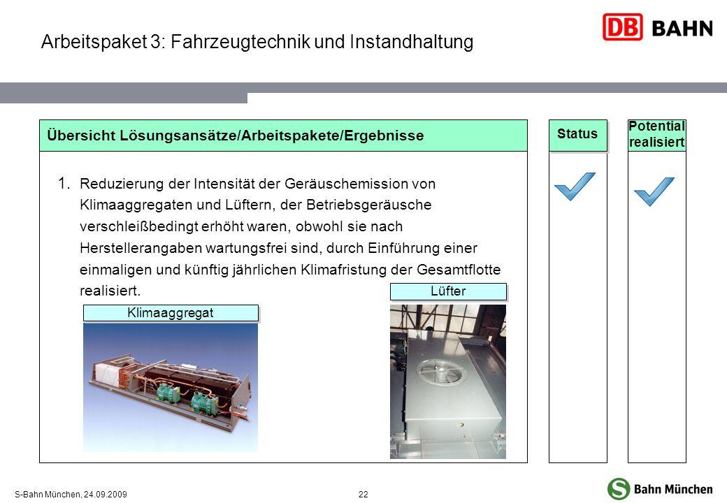 22S-Bahn München, 24.09.2009 Arbeitspaket 3: Fahrzeugtechnik und Instandhaltung Übersicht Lösungsansätze/Arbeitspakete/Ergebnisse Reduzierung der Inte