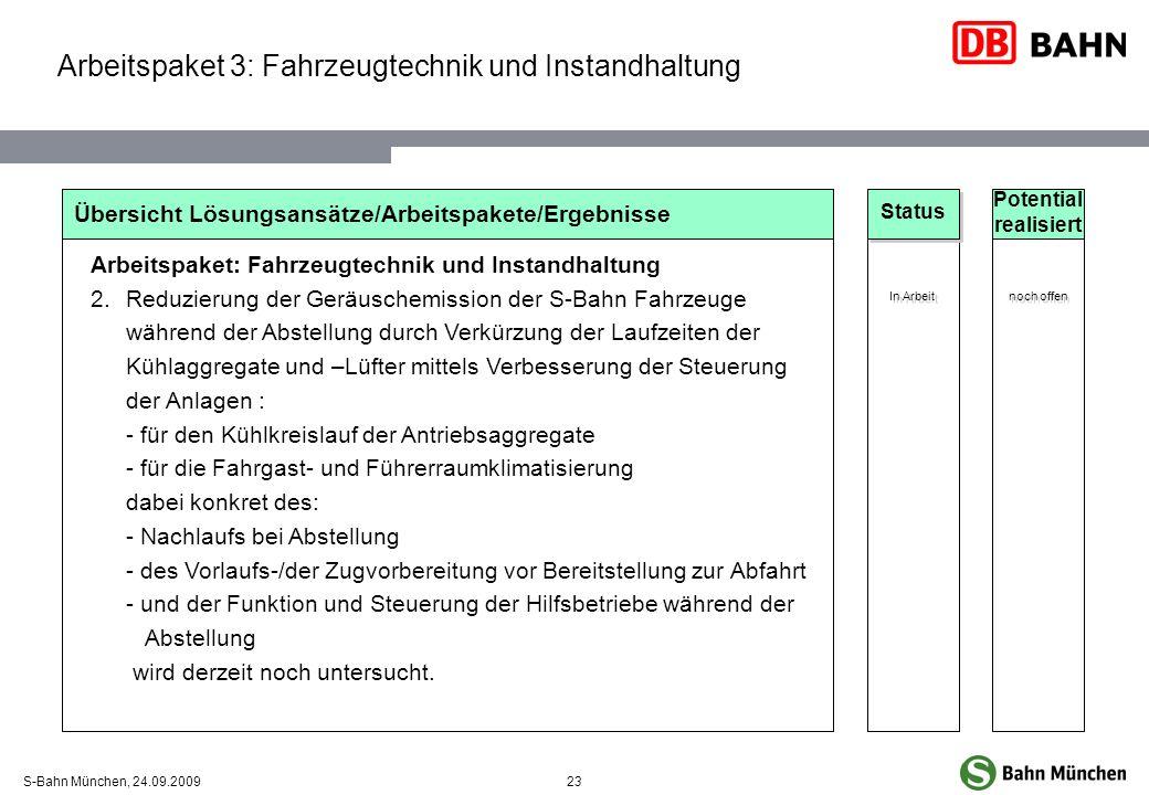23S-Bahn München, 24.09.2009 Übersicht Lösungsansätze/Arbeitspakete/Ergebnisse Arbeitspaket: Fahrzeugtechnik und Instandhaltung 2.Reduzierung der Gerä