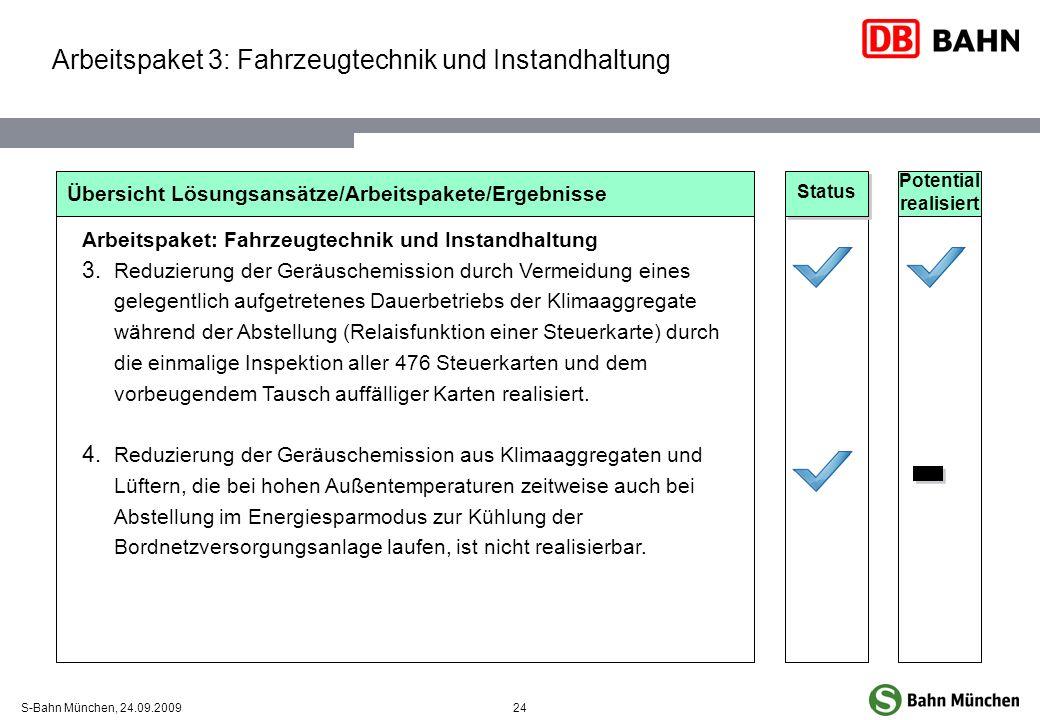 24S-Bahn München, 24.09.2009 Übersicht Lösungsansätze/Arbeitspakete/Ergebnisse Arbeitspaket: Fahrzeugtechnik und Instandhaltung Reduzierung der Geräus
