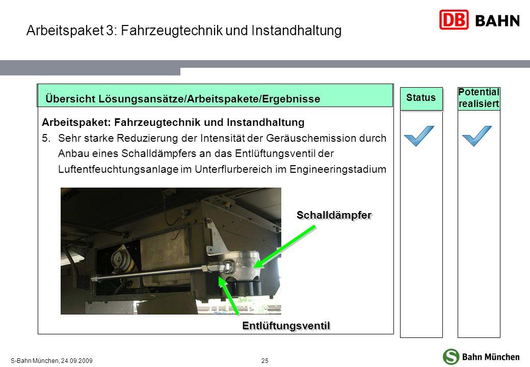 25S-Bahn München, 24.09.2009 Übersicht Lösungsansätze/Arbeitspakete/Ergebnisse Arbeitspaket: Fahrzeugtechnik und Instandhaltung 5.Sehr starke Reduzier