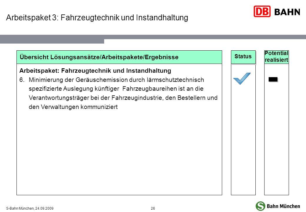 26S-Bahn München, 24.09.2009 Übersicht Lösungsansätze/Arbeitspakete/Ergebnisse Arbeitspaket: Fahrzeugtechnik und Instandhaltung 6.Minimierung der Gerä