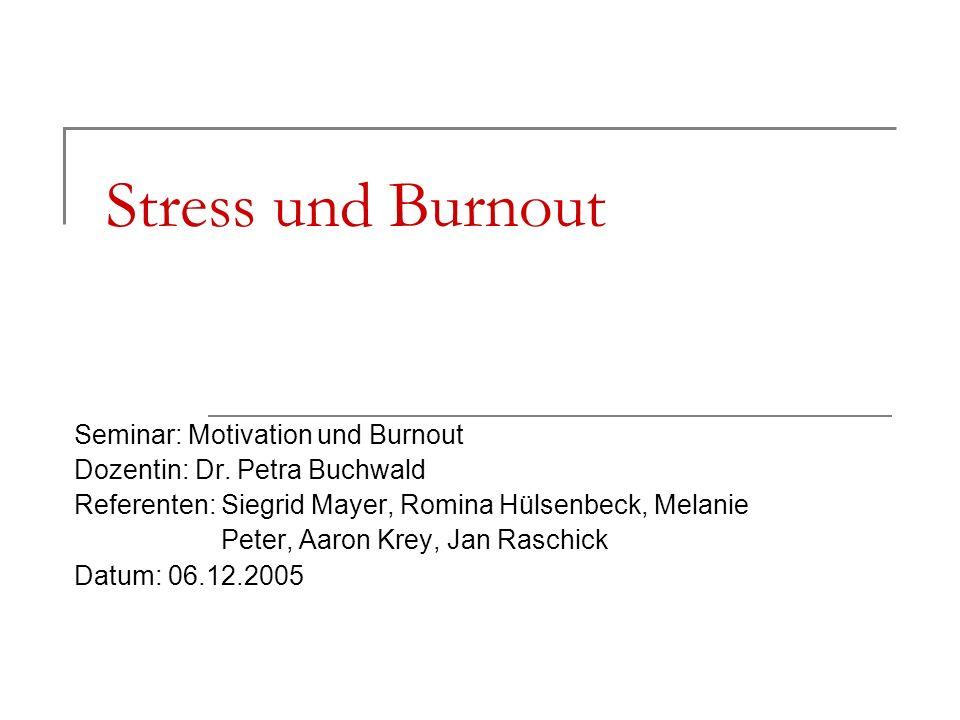 Stress und Burnout Seminar: Motivation und Burnout Dozentin: Dr. Petra Buchwald Referenten: Siegrid Mayer, Romina Hülsenbeck, Melanie Peter, Aaron Kre