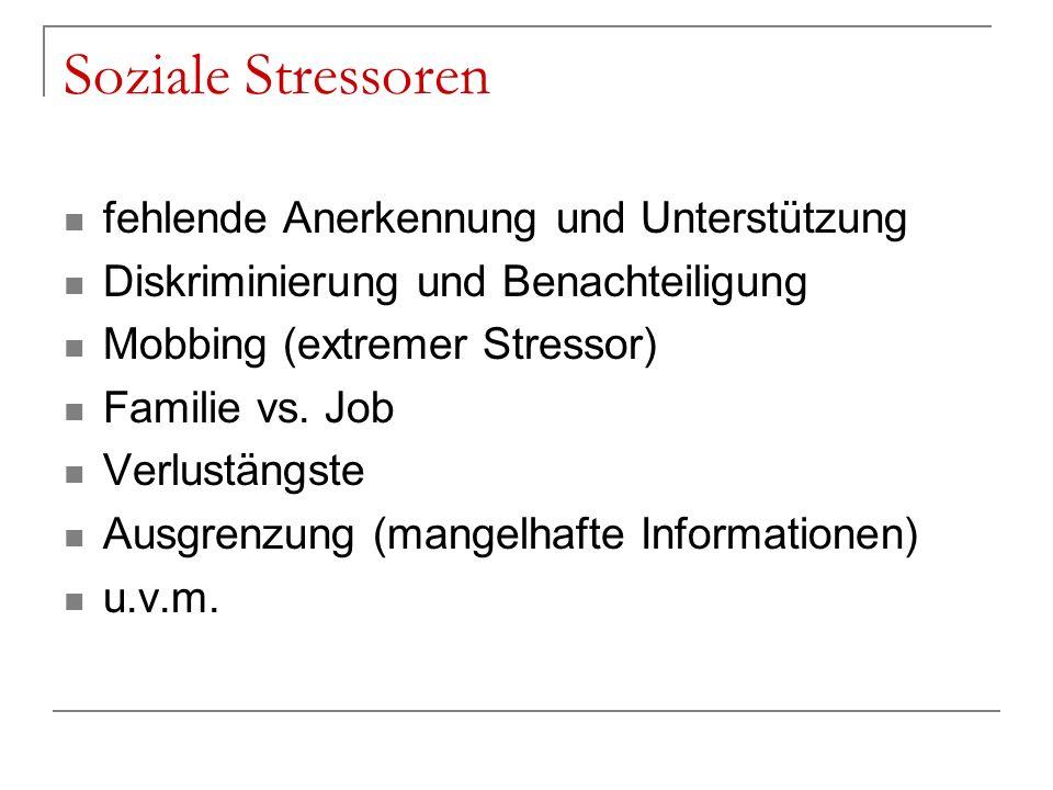 Soziale Stressoren fehlende Anerkennung und Unterstützung Diskriminierung und Benachteiligung Mobbing (extremer Stressor) Familie vs. Job Verlustängst