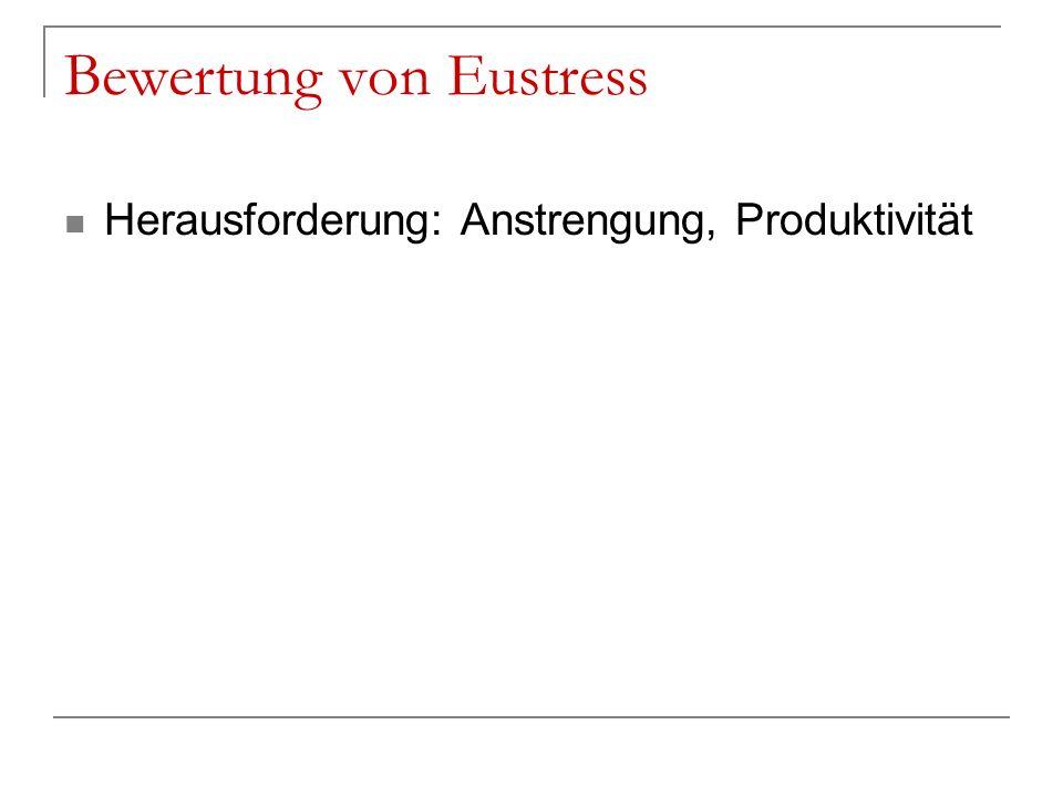Bewertung von Eustress Herausforderung: Anstrengung, Produktivität