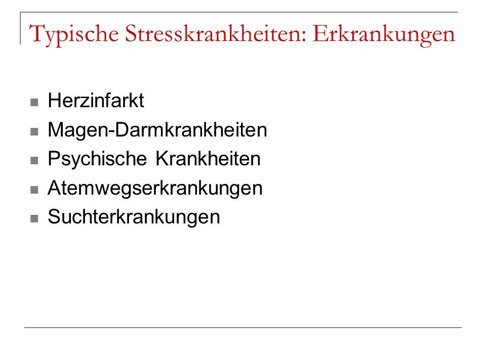 Typische Stresskrankheiten: Erkrankungen Herzinfarkt Magen-Darmkrankheiten Psychische Krankheiten Atemwegserkrankungen Suchterkrankungen
