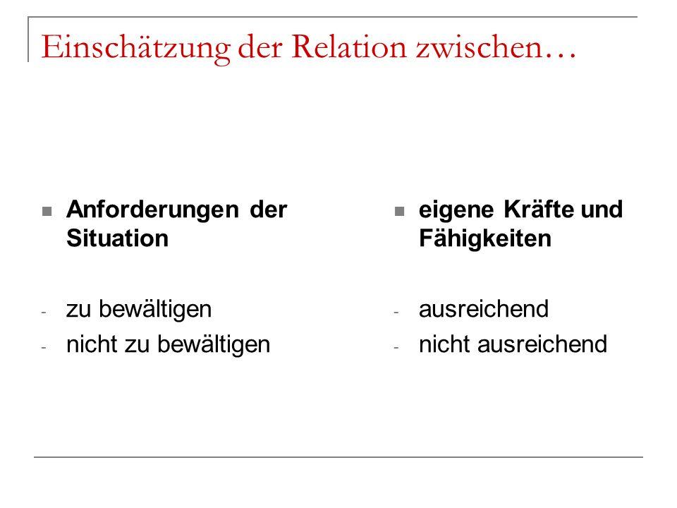 Einschätzung der Relation zwischen… Anforderungen der Situation - zu bewältigen - nicht zu bewältigen eigene Kräfte und Fähigkeiten - ausreichend - ni