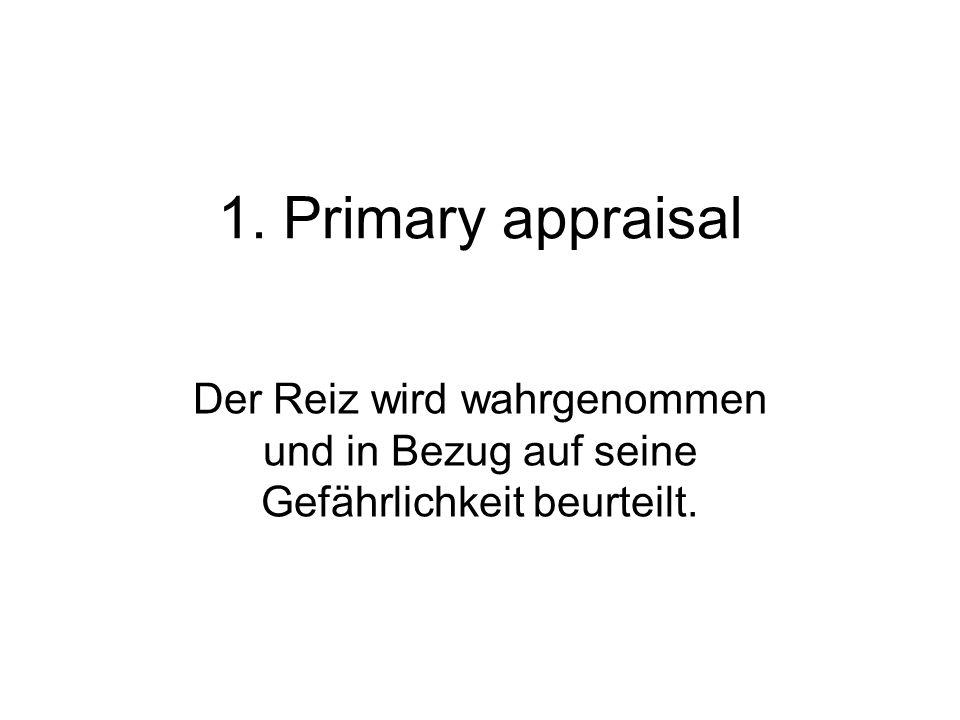 1. Primary appraisal Der Reiz wird wahrgenommen und in Bezug auf seine Gefährlichkeit beurteilt.