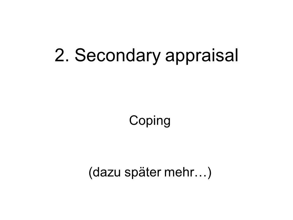 2. Secondary appraisal Coping (dazu später mehr…)