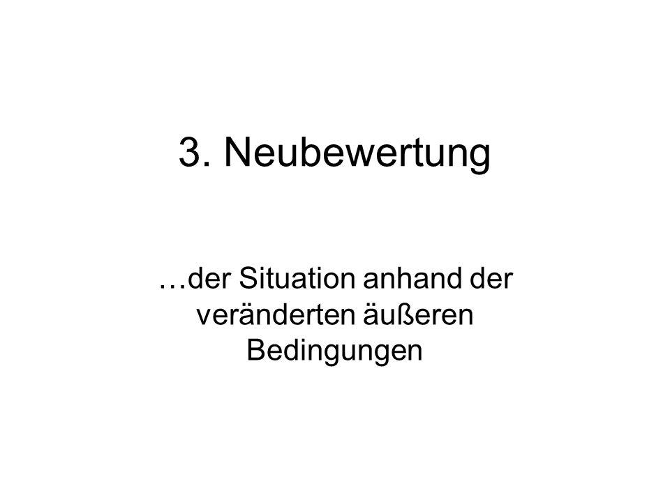 3. Neubewertung …der Situation anhand der veränderten äußeren Bedingungen