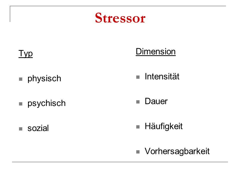 Stressor Typ physisch psychisch sozial Dimension Intensität Dauer Häufigkeit Vorhersagbarkeit