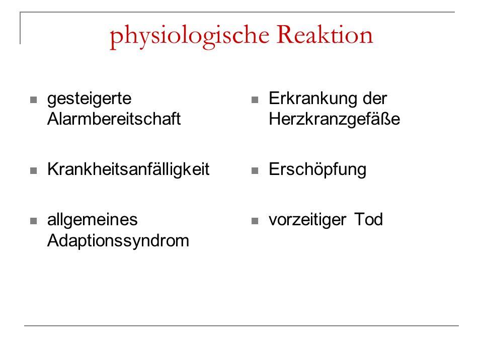 physiologische Reaktion gesteigerte Alarmbereitschaft Krankheitsanfälligkeit allgemeines Adaptionssyndrom Erkrankung der Herzkranzgefäße Erschöpfung v