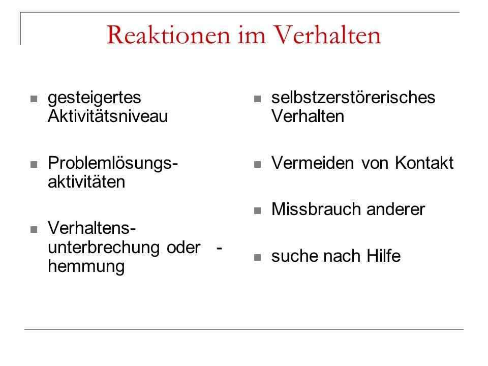 Reaktionen im Verhalten gesteigertes Aktivitätsniveau Problemlösungs- aktivitäten Verhaltens- unterbrechung oder - hemmung selbstzerstörerisches Verha