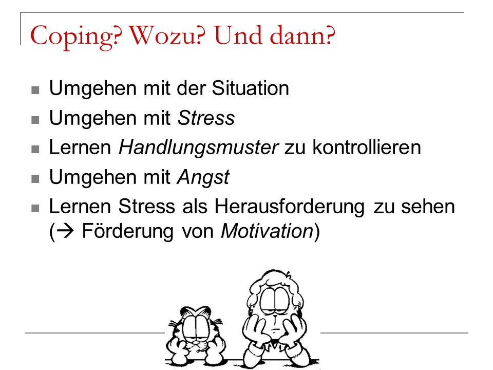 Coping? Wozu? Und dann? Umgehen mit der Situation Umgehen mit Stress Lernen Handlungsmuster zu kontrollieren Umgehen mit Angst Lernen Stress als Herau