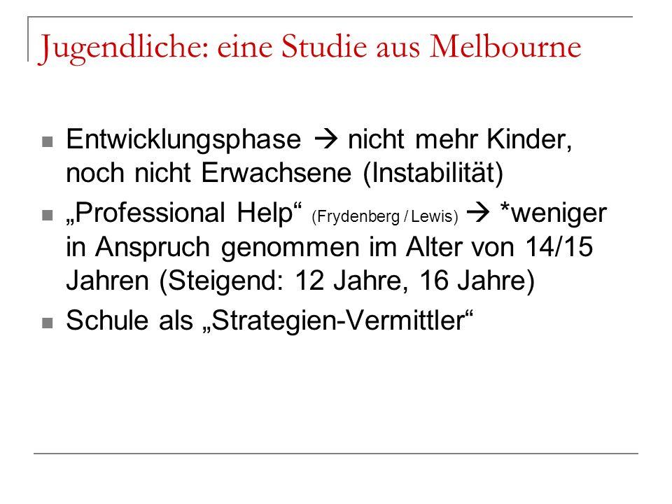 Jugendliche: eine Studie aus Melbourne Entwicklungsphase nicht mehr Kinder, noch nicht Erwachsene (Instabilität) Professional Help (Frydenberg / Lewis