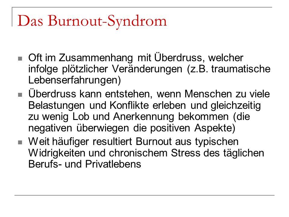 Das Burnout-Syndrom Oft im Zusammenhang mit Überdruss, welcher infolge plötzlicher Veränderungen (z.B. traumatische Lebenserfahrungen) Überdruss kann