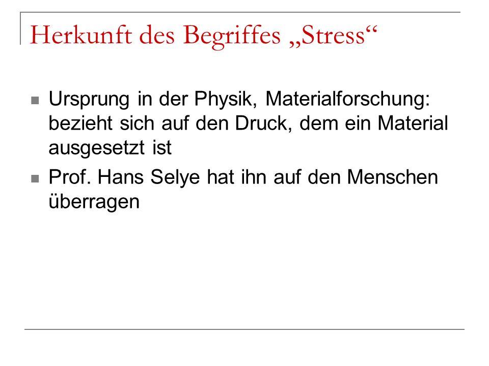 Herkunft des Begriffes Stress Ursprung in der Physik, Materialforschung: bezieht sich auf den Druck, dem ein Material ausgesetzt ist Prof. Hans Selye