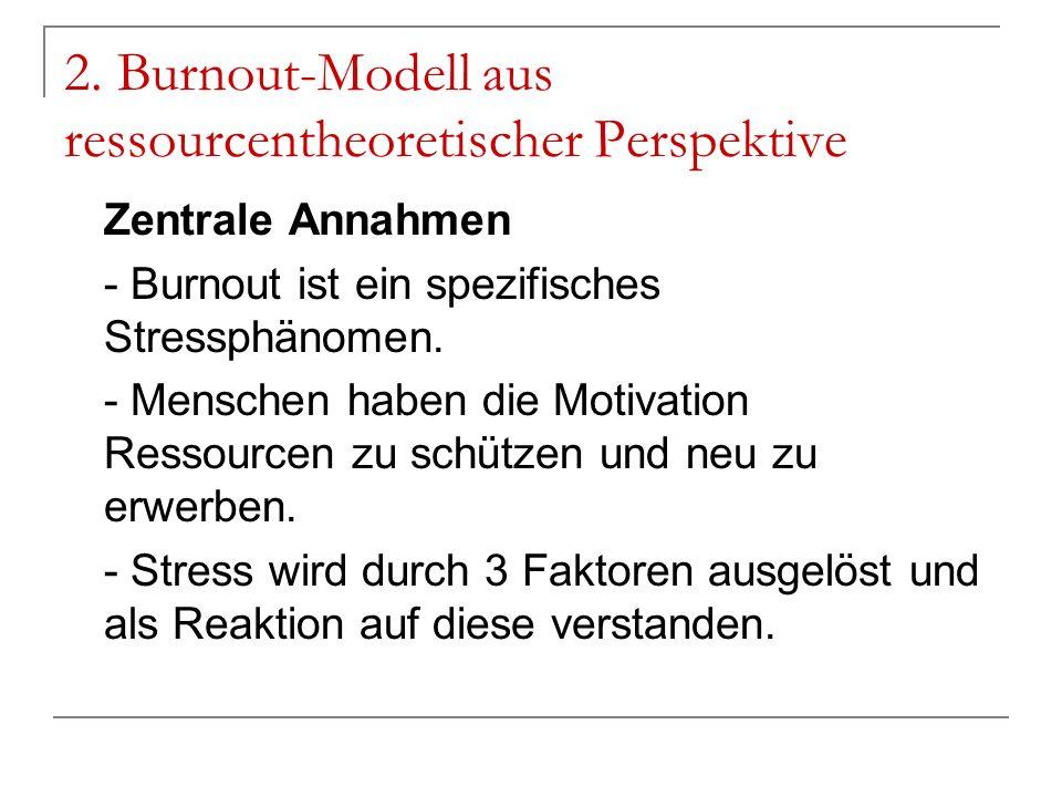 2. Burnout-Modell aus ressourcentheoretischer Perspektive Zentrale Annahmen - Burnout ist ein spezifisches Stressphänomen. - Menschen haben die Motiva