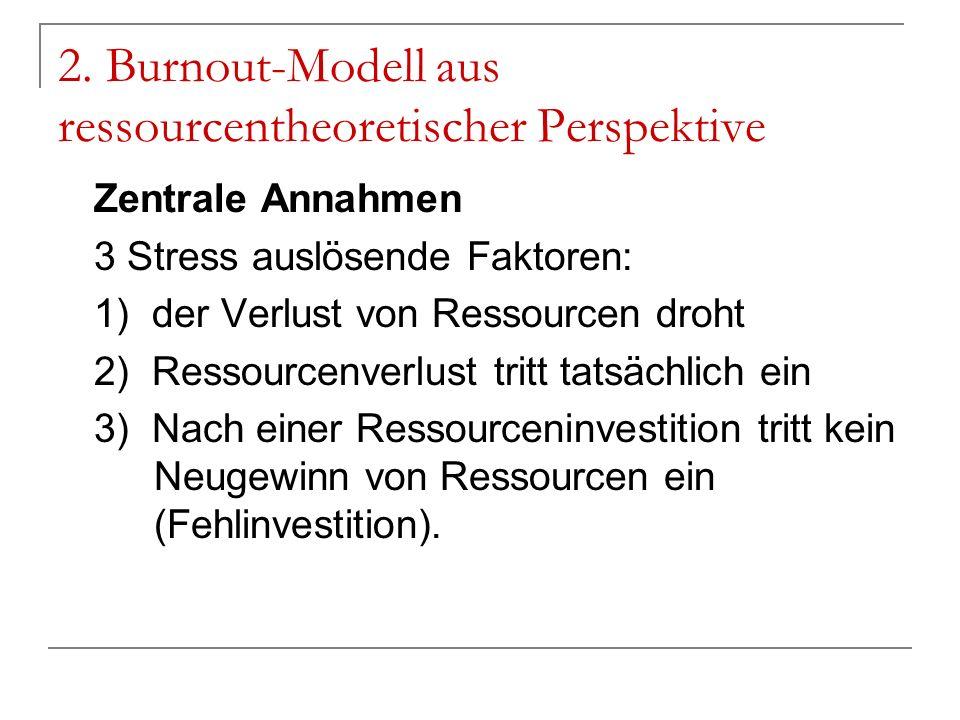 2. Burnout-Modell aus ressourcentheoretischer Perspektive Zentrale Annahmen 3 Stress auslösende Faktoren: 1) der Verlust von Ressourcen droht 2) Resso