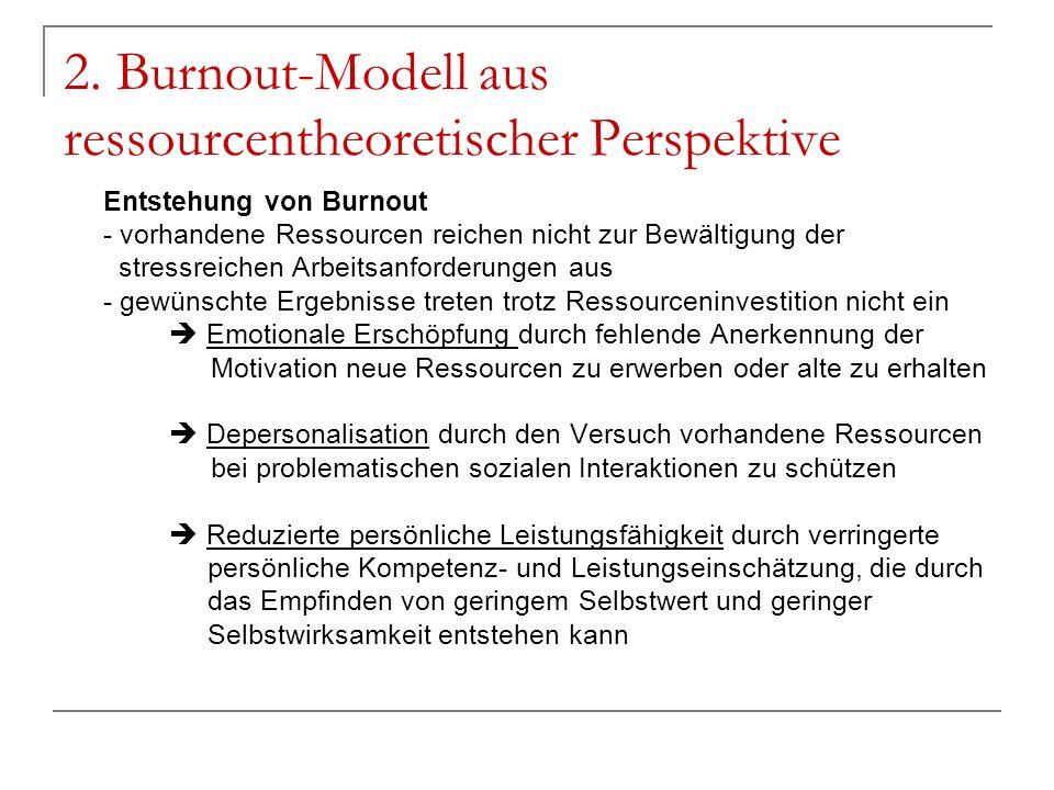 2. Burnout-Modell aus ressourcentheoretischer Perspektive Entstehung von Burnout - vorhandene Ressourcen reichen nicht zur Bewältigung der stressreich