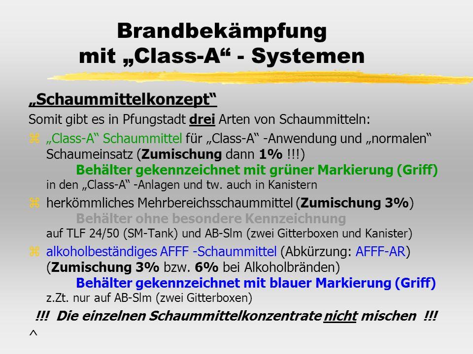 Brandbekämpfung mit Class-A - Systemen Schaummittelkonzept Somit gibt es in Pfungstadt drei Arten von Schaummitteln: zClass-A Schaummittel für Class-A
