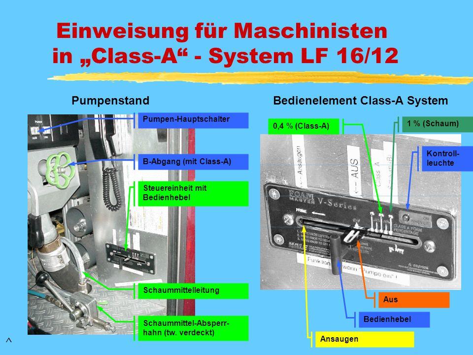 Einweisung für Maschinisten in Class-A - System LF 16/12 Steuereinheit mit Bedienhebel Schaummittel-Absperr- hahn (tw. verdeckt) Schaummittelleitung P