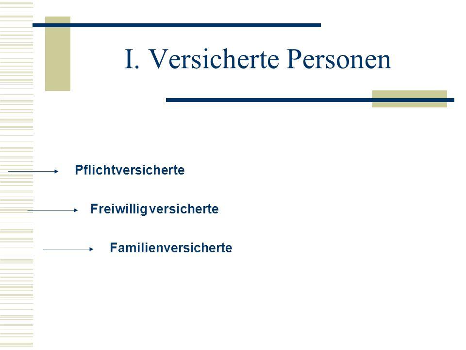 Pflichtversicherte Freiwillig versicherte Familienversicherte I. Versicherte Personen