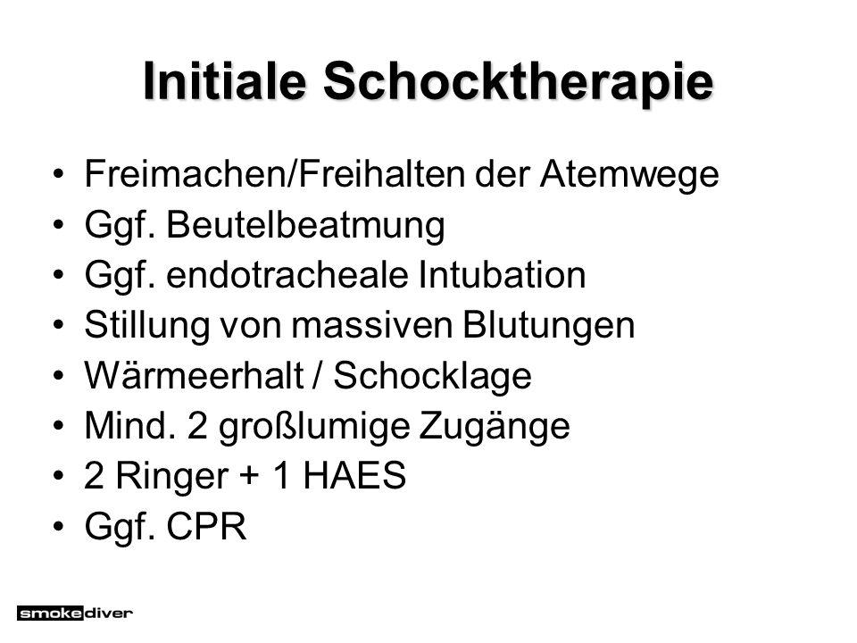 Initiale Schocktherapie Freimachen/Freihalten der Atemwege Ggf. Beutelbeatmung Ggf. endotracheale Intubation Stillung von massiven Blutungen Wärmeerha
