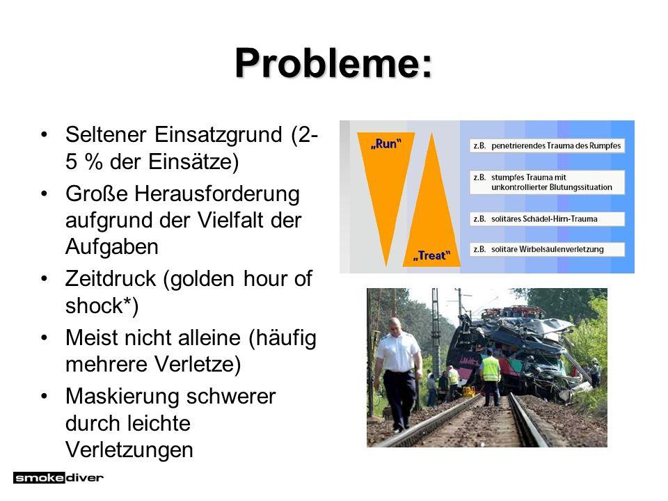 Probleme: Seltener Einsatzgrund (2- 5 % der Einsätze) Große Herausforderung aufgrund der Vielfalt der Aufgaben Zeitdruck (golden hour of shock*) Meist