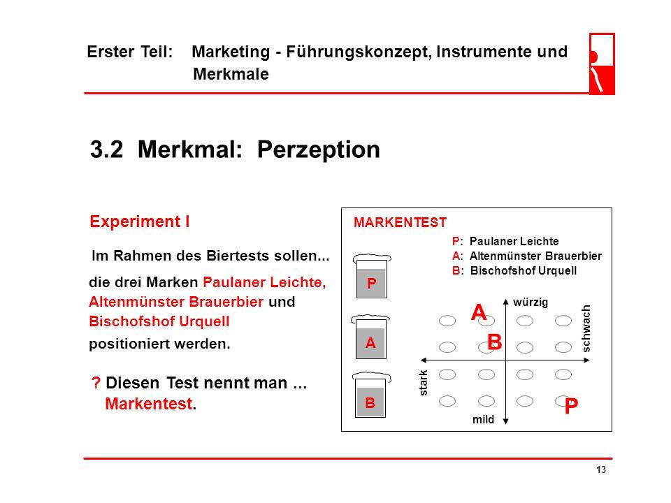 3.2 Merkmal: Perzeption ? Die Beeinflussung der Perzeption geschieht durch die... zielgerichtete Gestaltung des Marketing-Mix. 12 Nicht das objektive