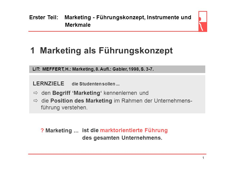 1 Marketing als Führungskonzept Erster Teil: Marketing - Führungskonzept, Instrumente und Merkmale LIT: MEFFERT, H.: Marketing, 8.