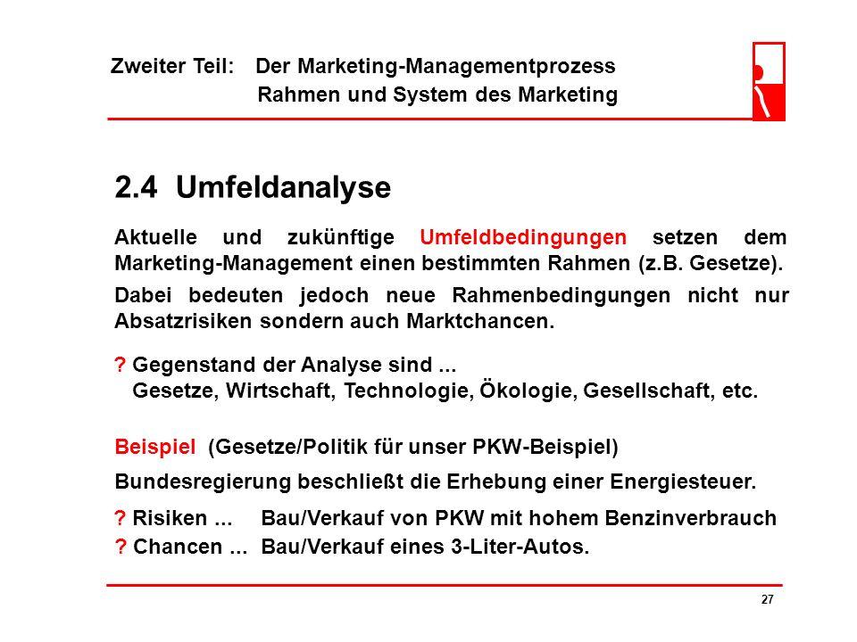 Zweiter Teil: Der Marketing-Managementprozess Rahmen und System des Marketing 26 2.3 Mitbewerberanalyse Die gesamte Befragung ergab folgende Mittelwer