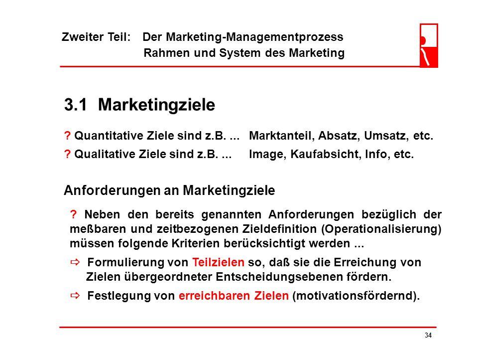 Zweiter Teil: Der Marketing-Managementprozess Rahmen und System des Marketing 33 3.1 Marketingziele Beispiel Audi TT Roadster Marketingziele werden au