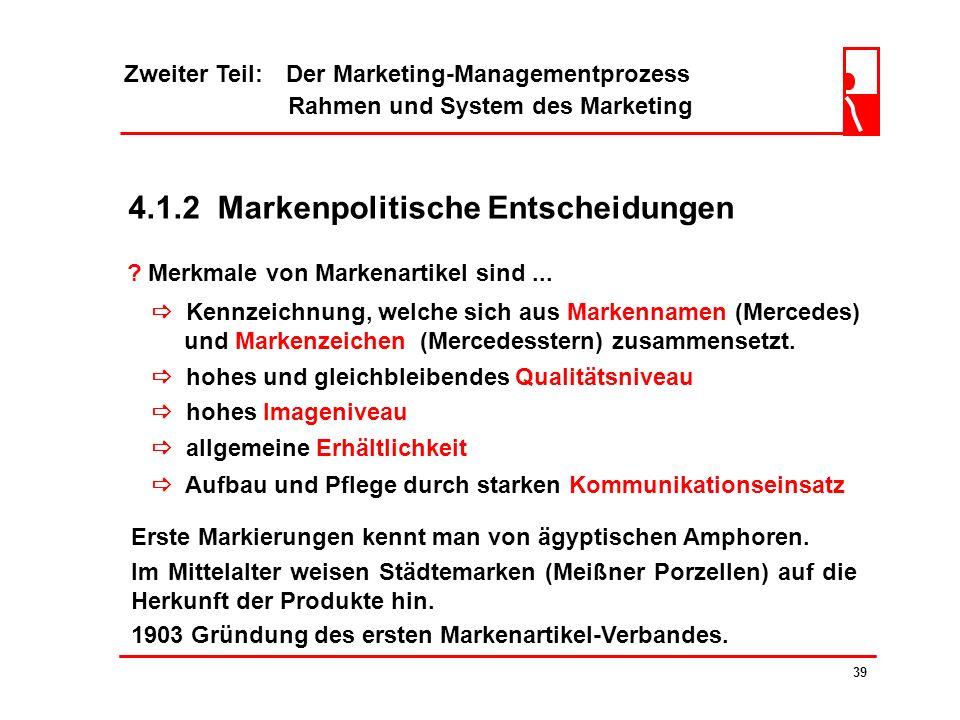 Zweiter Teil: Der Marketing-Managementprozess Rahmen und System des Marketing 38 ? Unter dem generischen Produktbegriff... den Konsumenten angebotene