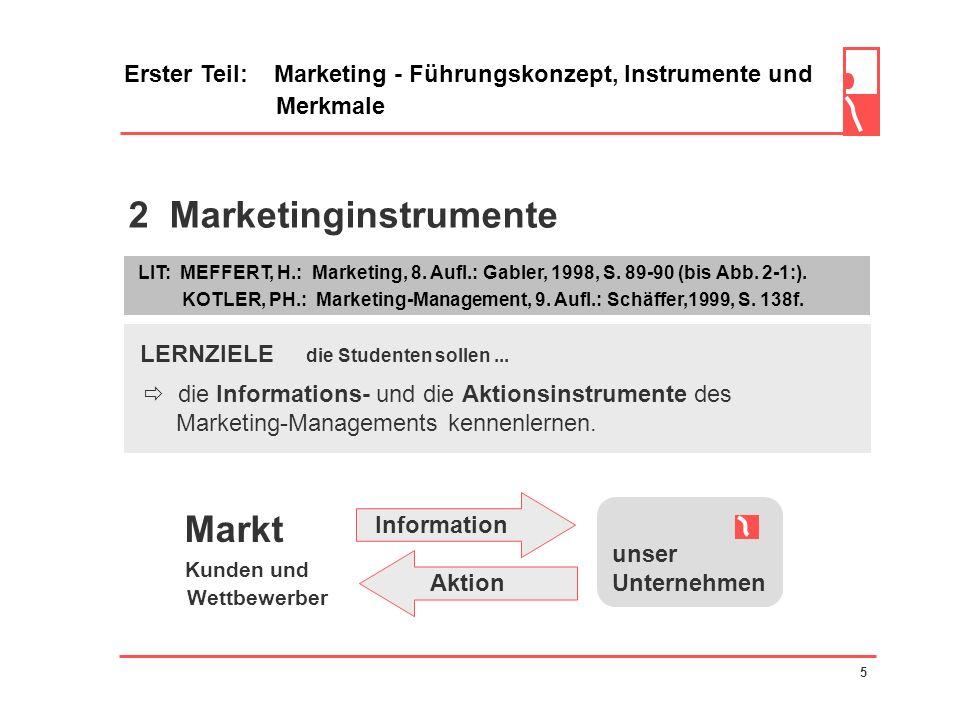 2 Marketinginstrumente Erster Teil: Marketing - Führungskonzept, Instrumente und Merkmale LERNZIELE die Studenten sollen...