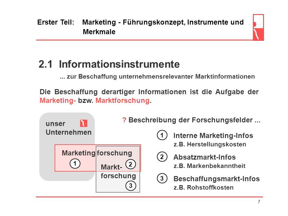 2 Marketinginstrumente Erster Teil: Marketing - Führungskonzept, Instrumente und Merkmale 6 unser Unternehmen Markt Information Aktion Beispiele...für