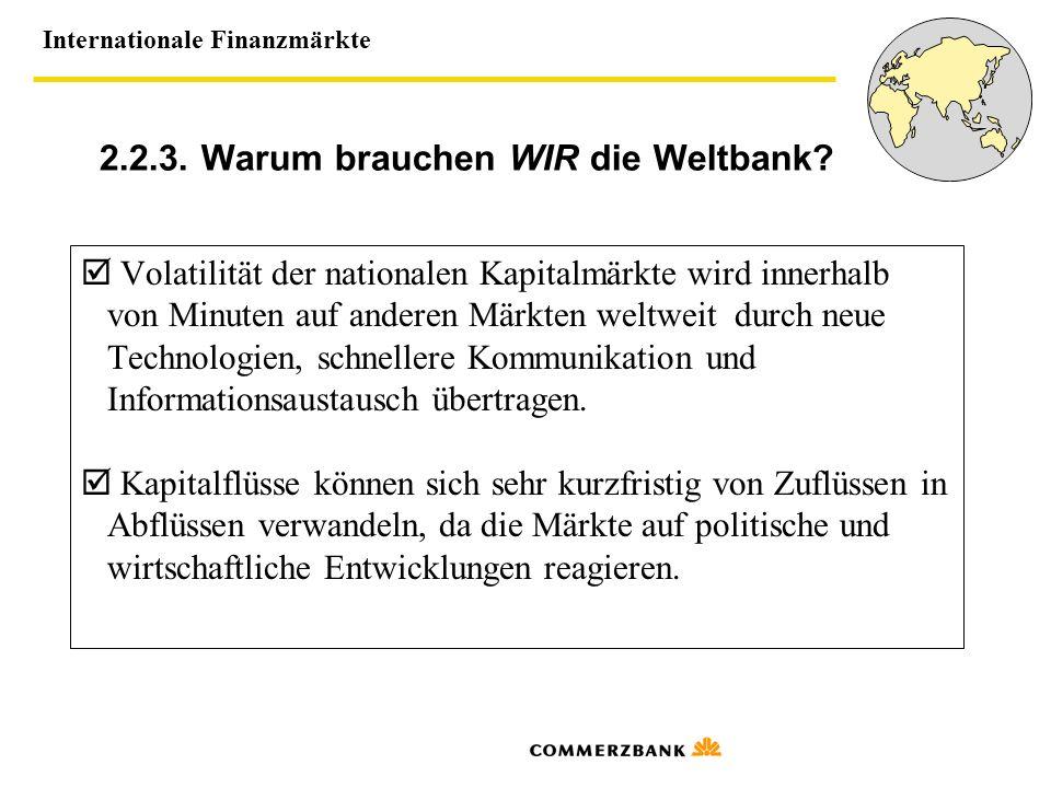 Internationale Finanzmärkte 2.2.3. Warum brauchen WIR die Weltbank? Volatilität der nationalen Kapitalmärkte wird innerhalb von Minuten auf anderen Mä